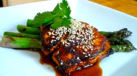 Bourbon Glazed Salmon Recipe with Asparagus