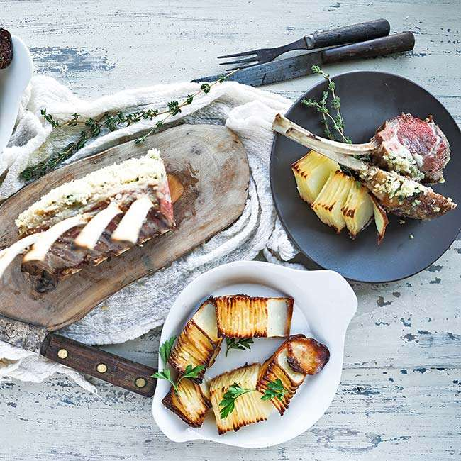 Roasted Rack of Lamb Recipe with Herb Bread Crumbs and Dominos Potatoes