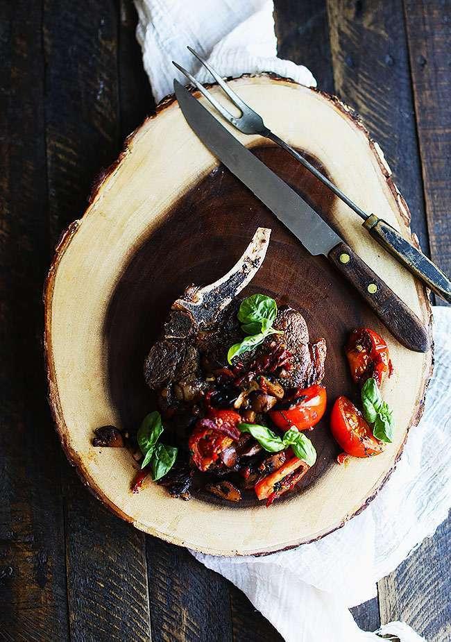 pan roasted ribeye with vegetables