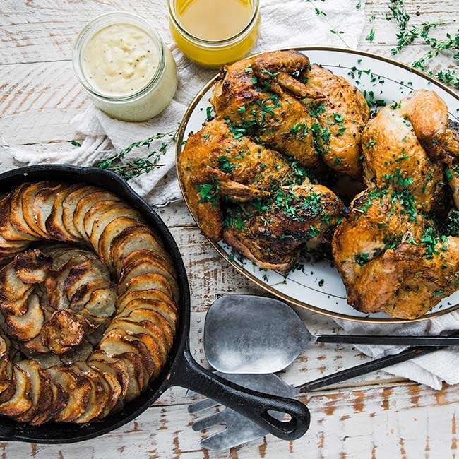 grilled spatchcock chicken with dijon cream sauce and scalloped potatoes recipe