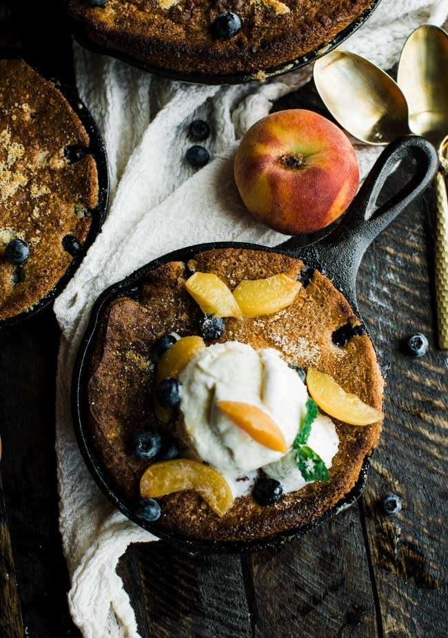 cobbler with fresh peaches and blue berries