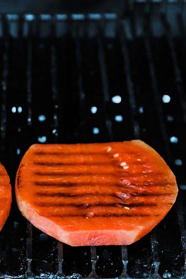 watermelon on the grill with grill marks