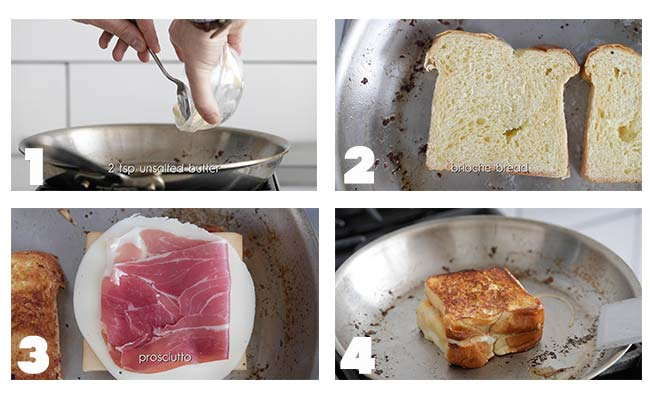 step by step procedures to make a grilled cheese