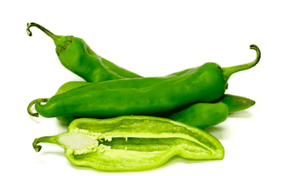 fresh and sliced hatch chiles
