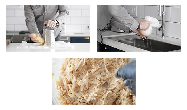 how make latkes with potatoes and removing potato water