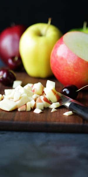 diced assorted apples for a chis seed pudding recipe