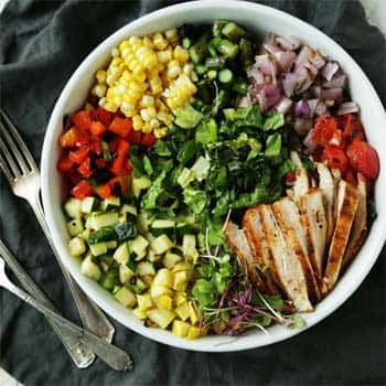 Grilled Chopped salad with Sweet Mustard Vinaigrette