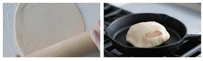 rolling out pita dough balls and cooking it in a pan