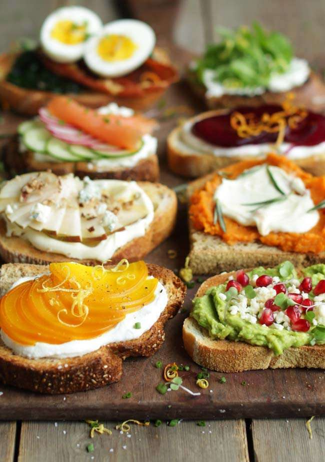 a side photograph of avocado toast and seven different gourmet toast recipes