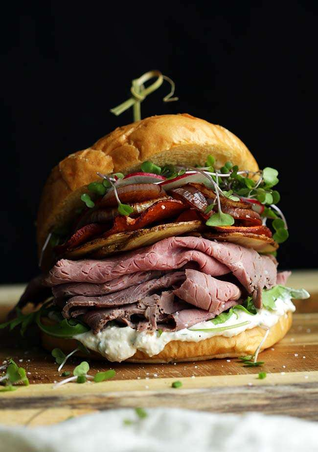 Roast Beef Sandwich Recipe on a kaiser roll
