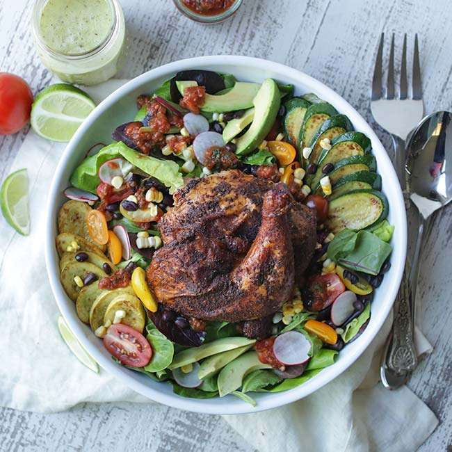 Smoked Chicken Greens Salad with Zucchini and Cilantro Lime Dressing