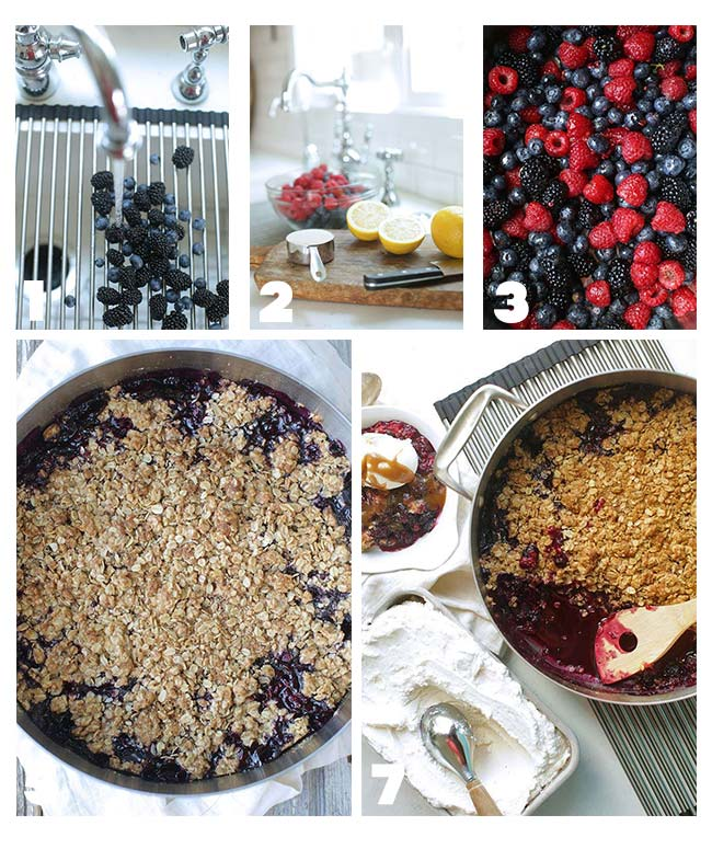 step by step procedures on how to make a berry crisp recipe