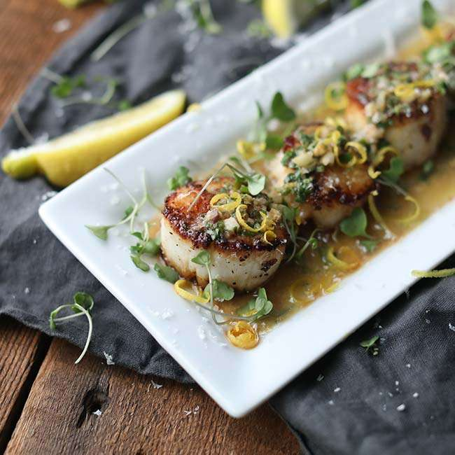 Pan Seared Scallops with White Wine and Herb Butter Sauce