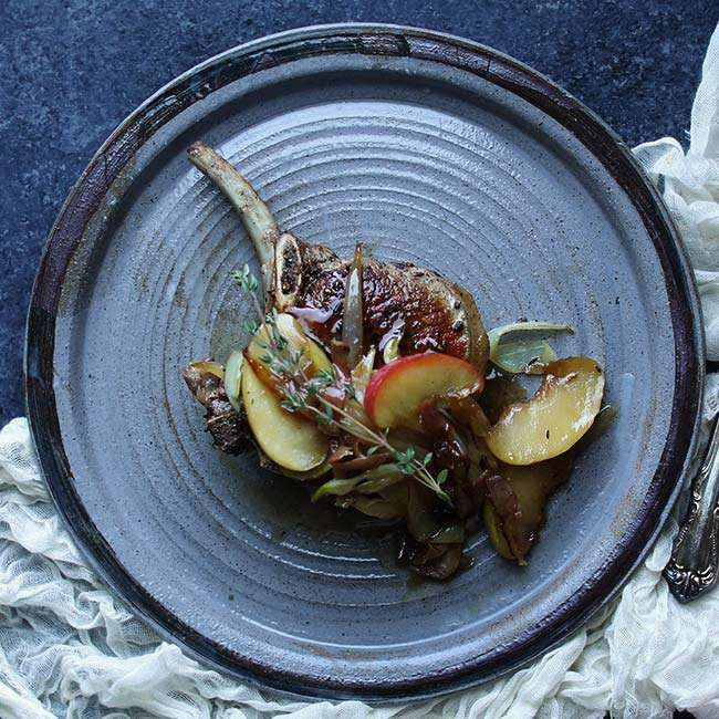 Bone In Pork Chops with Onion and Apple Butter Recipe