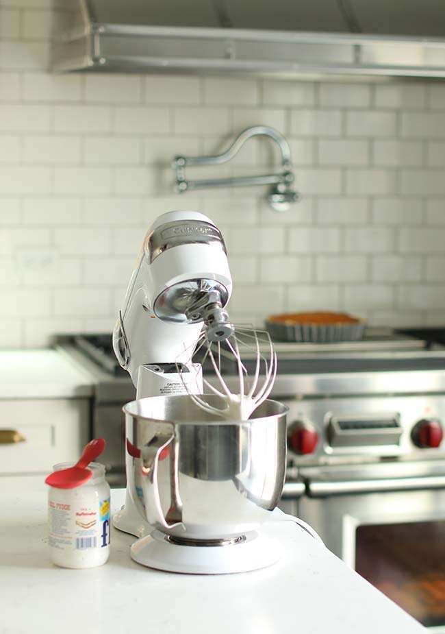 stand mixer making a marshmallow merengue
