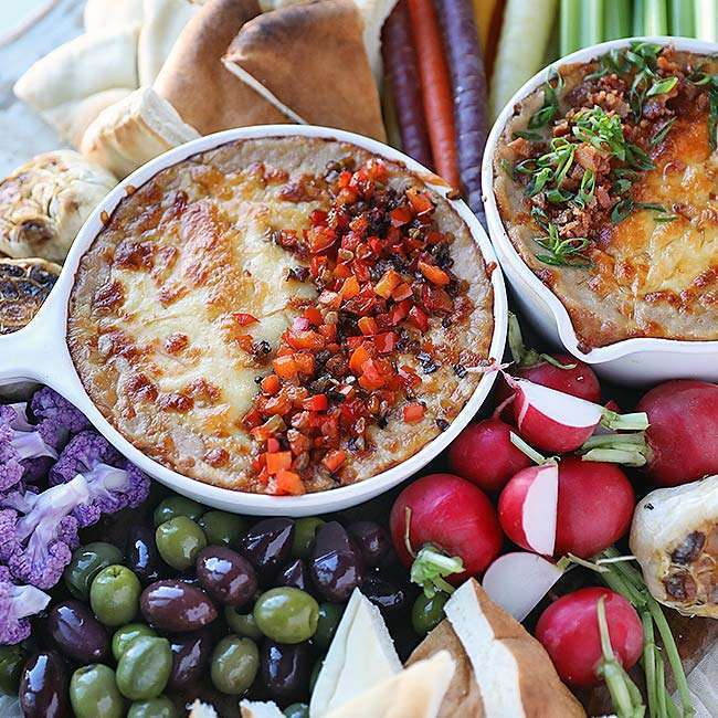 Smoked Cheese Bean Dip Recipe and Crudité Platter