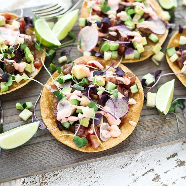 Tuna Poke Tostada Recipe with Chili Garlic Mayonnaise