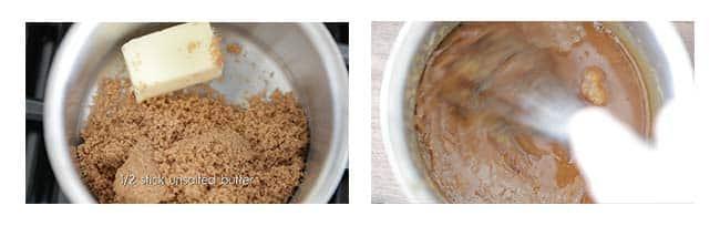 making caramel in a sauce pot while whisking