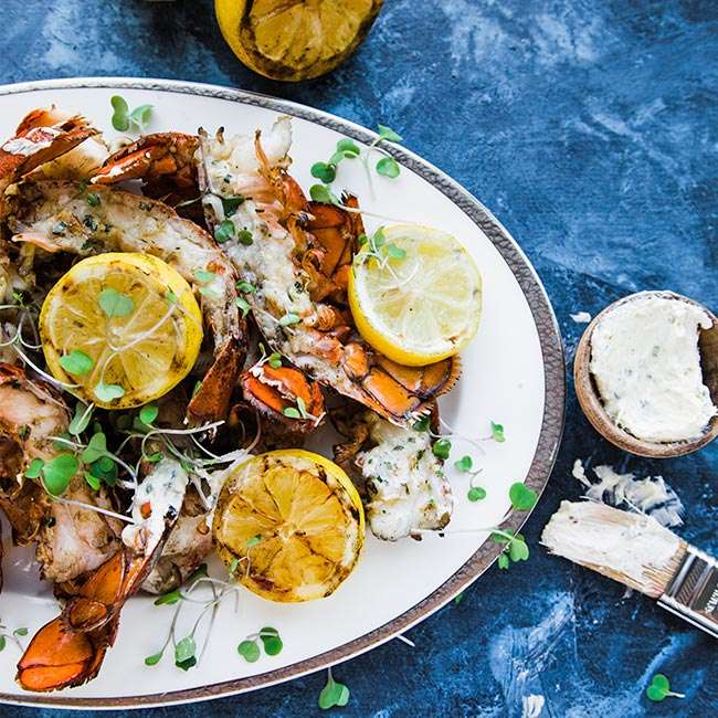 grilled lobster tails with herb butter