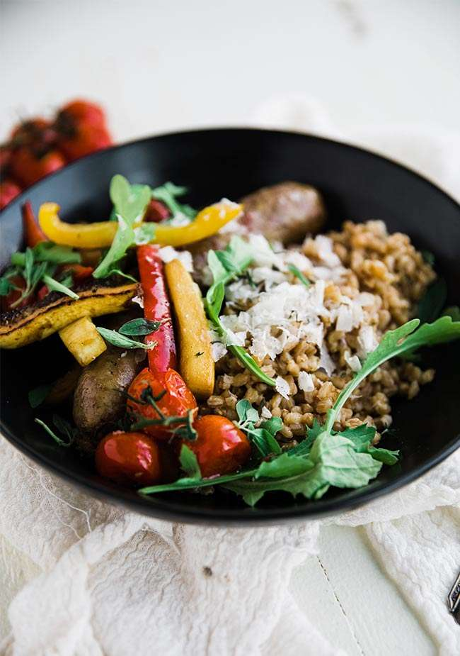 buttery farro with roasted italian sausage