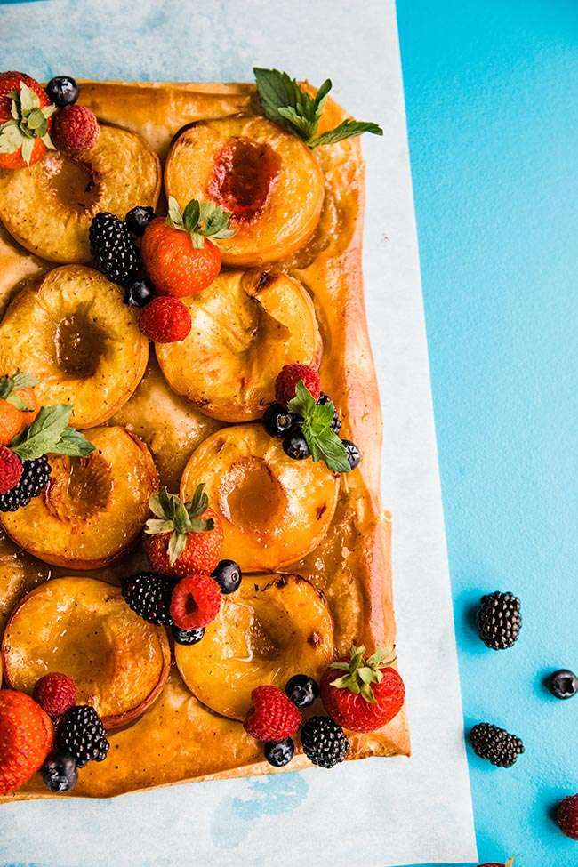 homemade puff pastry tart with peaches
