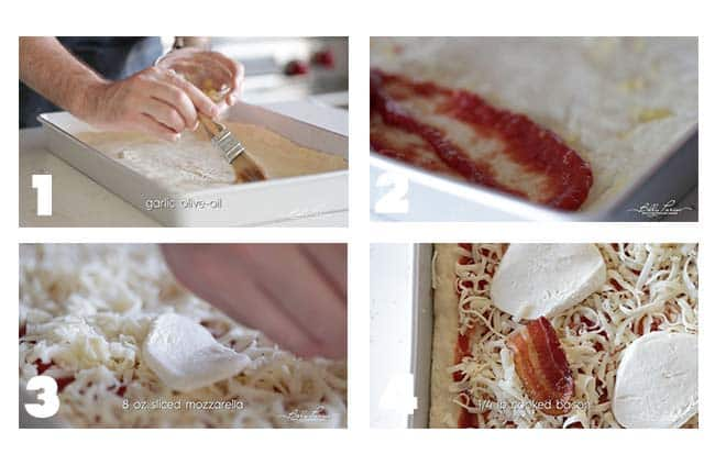 step by step procedures for adding sicilian pizza toppings