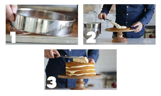 step by step procedures for icing a pumpkin cake