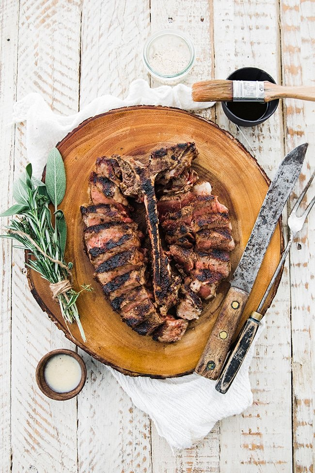 grilled bistecca fiorentina with herbs