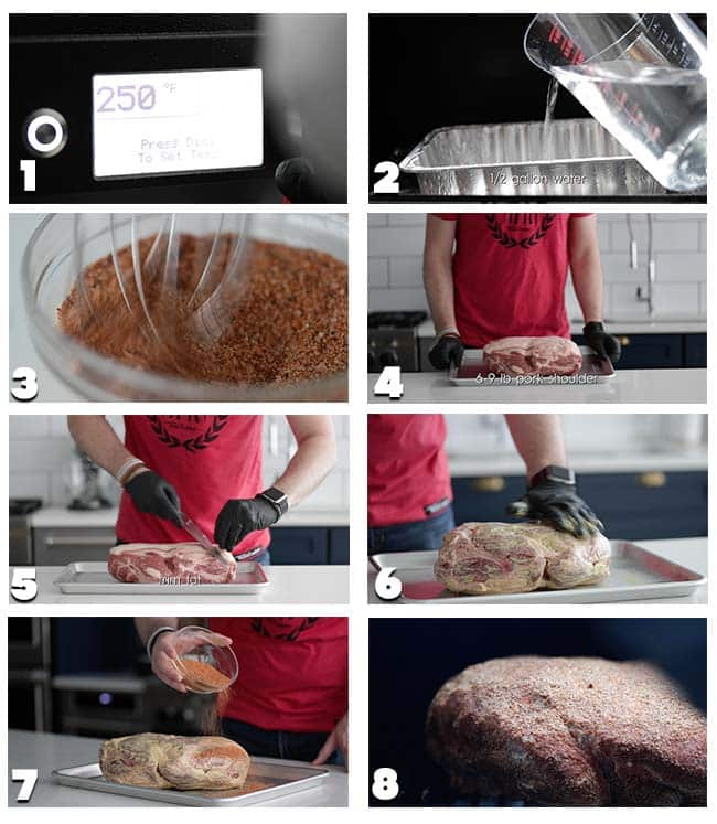 step by step pulled pork procedures 1 through 8