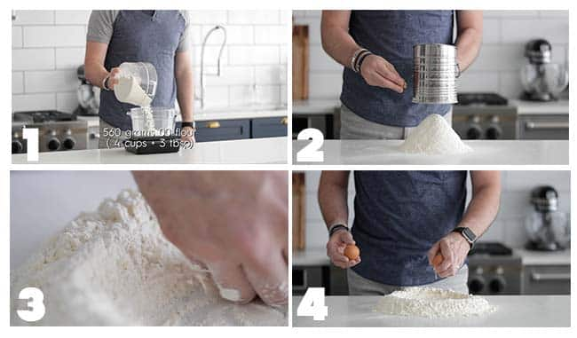 step by step flours for homemade pasta making