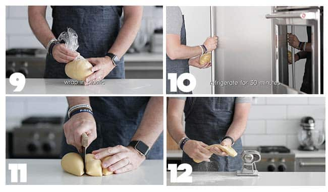 kneading dough in step by step procedures for homemade pasta