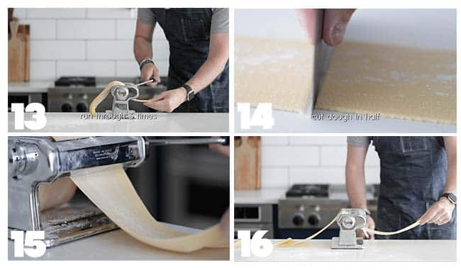 Rolling out dough in step by step procedures for homemade pasta dough