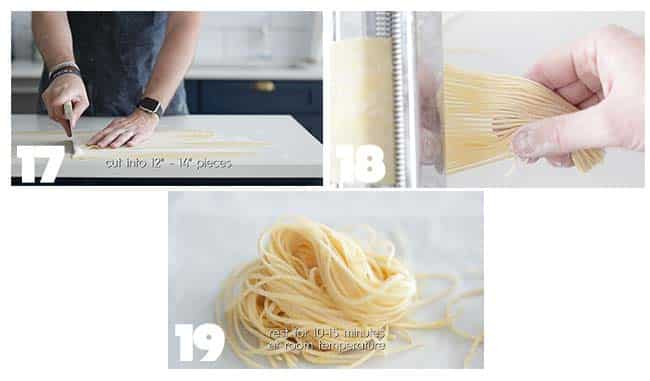 forming pasta dough in step by step procedures