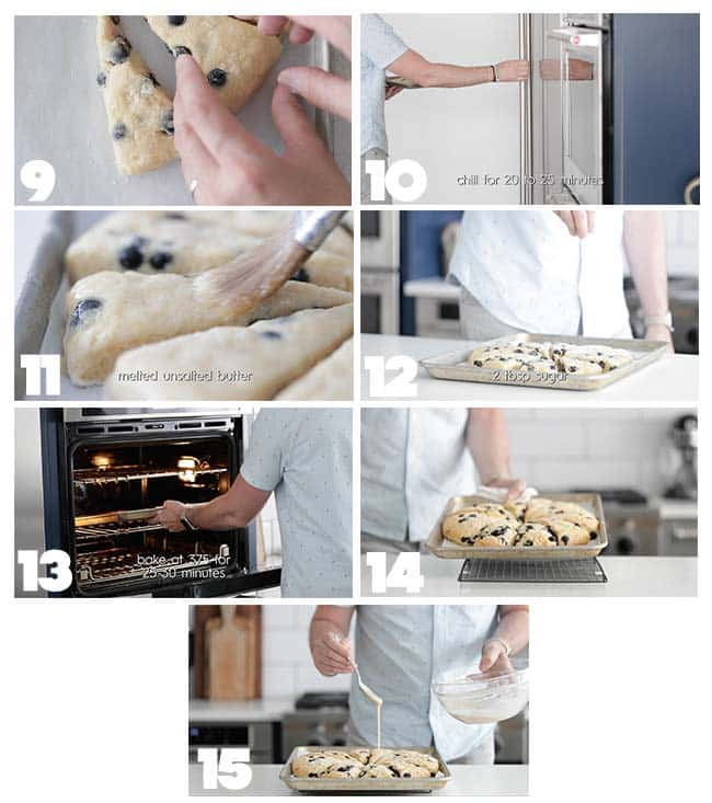 step by step procedures to baking blueberry scones
