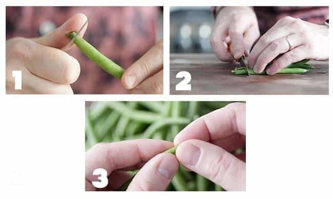 step by step procedures for trimming green beans