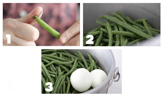 step by step process for prepping ham and green beans