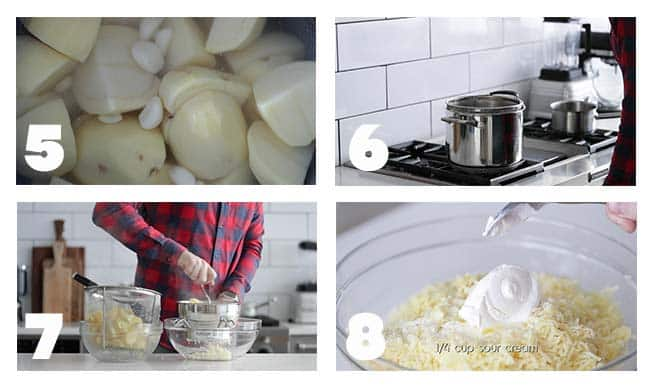 step by step process for making roasted garlic mashed potatoes