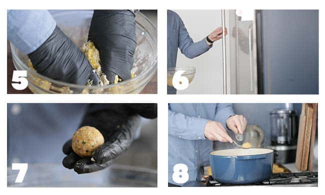 step by step procedures for making matzo balls for chicken soup