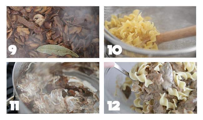 step by step process for assembling a beef stroganoff with noodles