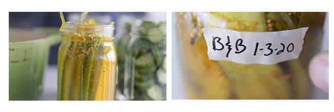 jarring and labeling bread and butter pickles