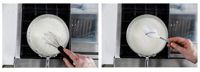 whisking a white sauce and coating a spoon for nappe