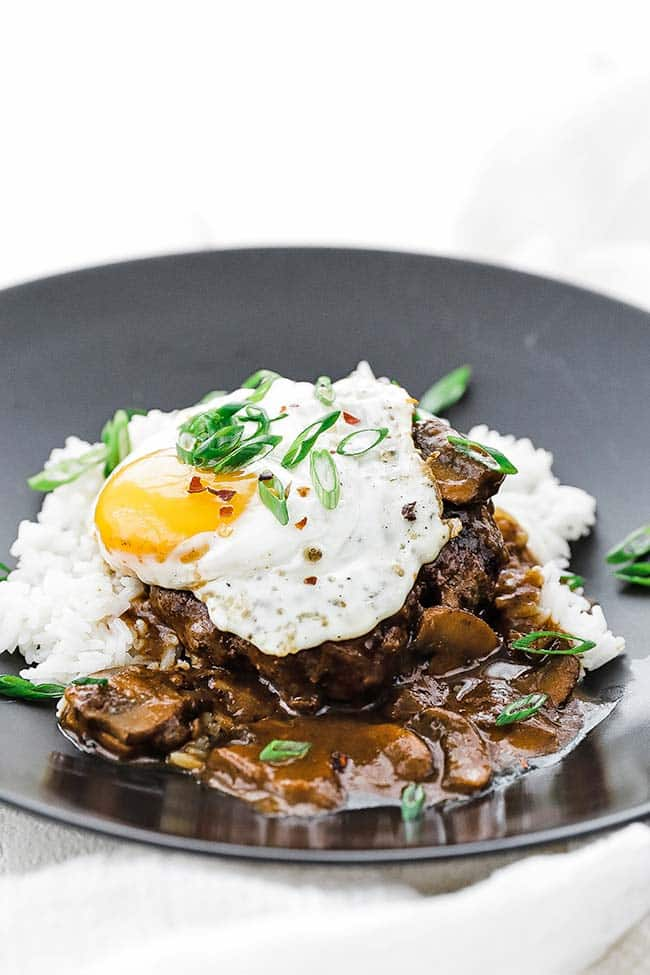 loco moco with green onions and gravy