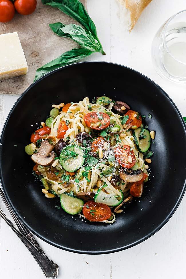 fresh homemade pasta primavera in a bowl