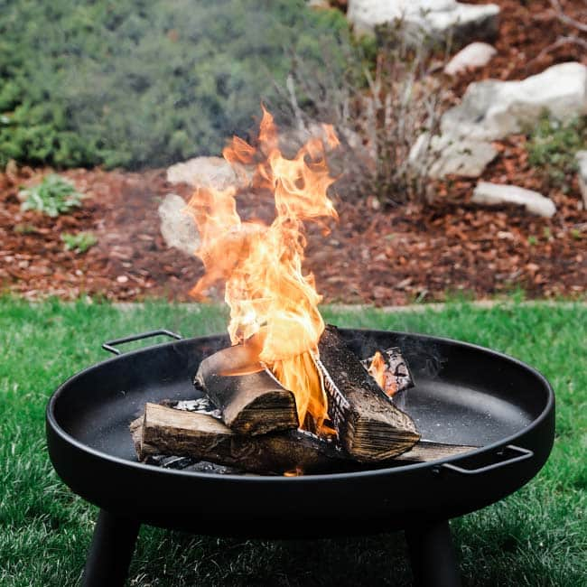 fire with wood in a fire pit