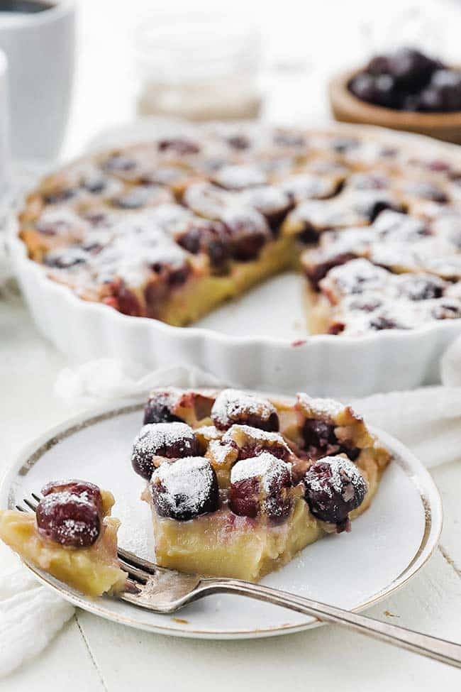 slice of cherry clafoutis on a plate