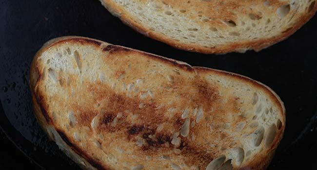 toasted sliced of bread in a pan