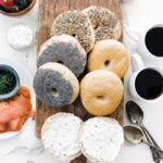 homemade bagels with cream cheese and coffee