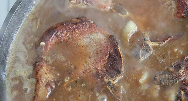 cooking pork chops in an onion gravy