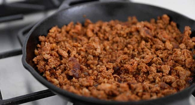 cooked chorizo in a pan
