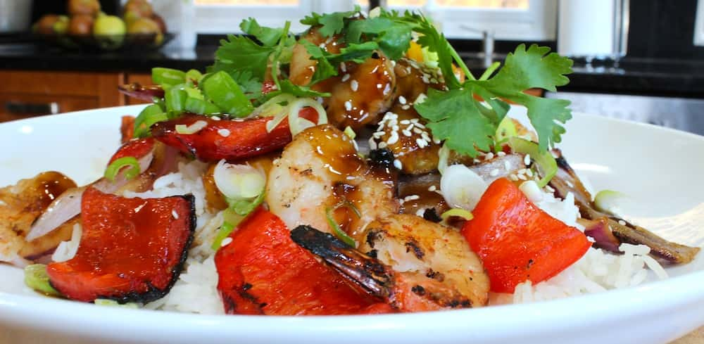 Teriyaki Grilled Shrimp, Pineapple & Roasted Peppers